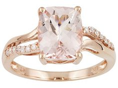 Cor-de-rosa Morganite 2.10ct Cushion With Diamond Accent Round 10k Rose Gold Ring