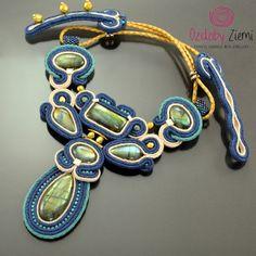 Statement Labradorite Necklace Gemstone Necklace Navy Blue