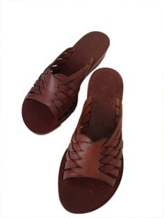 75fa15ec4be0 HEBE  Woven Leather Slide Mule Handmade leather sandals custom size  available