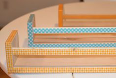 Cover plain spice racks or shelves with pretty washi tape.