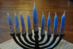 DIY glitter dip Hanukkah candles craft tutorial   Champagne & Schnapps blog