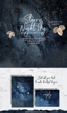 Wedding Theme Celestial Starry Night Sky Watercolor Clipart, Golden Silver Sparkle Stars Moon Clipart, Navy Blue and Gold Digital Paper, Galaxy Universe Graphics Starry Night Wedding, Starry Night Sky, Night Skies, Blue And Silver, Navy Blue, Navy Gold, Silver Stars, Celestial Wedding, Navy Wedding Invitations