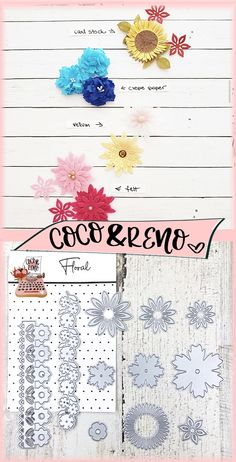 Coco & Reno flower cutting dies are great with cardstock, crepe paper, vellum, felt and more.  Coco & Reno cutting dies work with any cutting die machines including sizzix big shot, cricuit cuttlebug, spellbinders, etc.   #cuttingdies #diecuts #paperephemera #diecuttingmachine #handmadecards #paperlove #papercrafting #sizzixbigshot #cocoandreno #sizzix #diecutting #diecut #diecutaddict #scrapbooking #scrapbookingideas  #diyflower #diypaperflowers
