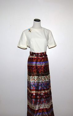 Folk Art Maxi Dress by CheekyVintageCloset on Etsy, $42.00