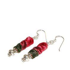 Christmas Earrings Fiber Earrings Holiday by AndreasJewelry, $20.00