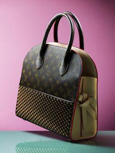 Louis Vuitton handbag on green surface for Hunger Magazine