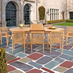 Caluco Teak 8-person Wood Patio Dining Set With Extension Table And Stacking Chairs by Caluco. $2899.00. Wood is harvested responsibly for eco-friendly furniture. Teak is resistant to decay and insects. Durable and sturdy for outdoor use. Slatted table top allows moisture to escape for long lasting use. Set Includes: Extension Dining Table and 8 Stacking Arm Chairs. Caluco Teak 8-Person Wood Patio Dining Set With Extension Table And Stacking Chairs. 50-506. Wood Dining Sets. T...