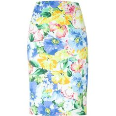 Polo Ralph Lauren Floral Print Pencil Skirt ($190) ❤ liked on Polyvore featuring skirts, multicolour, multi color skirt, flower print skirt, knee length pencil skirt, colorful skirts en flower print pencil skirt