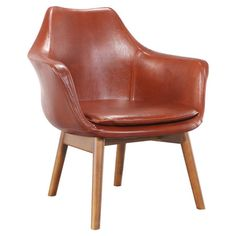 Pairing brown leather upholstery and an ash wood base, this handsome arm chair brings a touch of midcentury appeal to your study or den.   ...