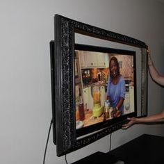 Mounting The Frame On Tv Love Idea Of Using Crown Molding To Bild