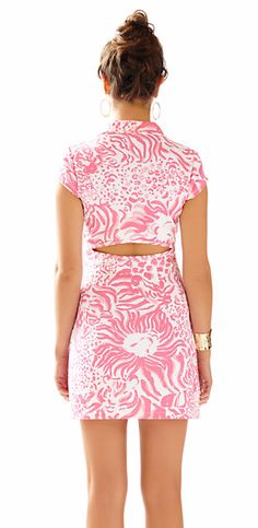 Lilly Pulitzer Rayna Printed Polo Dress in Get Spotted- love the slimming back cut-out
