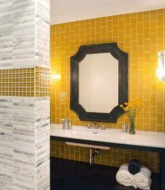 Tile Design Option - Vertical subway tiles with horizontal accents. Contemporary bathroom by Lizette Marie Interior Design Bathroom Design Trends, Beautiful Bathrooms, Yellow Bathrooms, Yellow Bathroom Decor, Yellow Bathroom Tiles, Yellow Tile, Bathroom Decor, Yellow Glass Tiles, Modern Bathroom Design