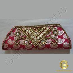 Clutch purse - Magenta color with jari work and gold color bead work Wedding Sarees, Bridal Sarees, Purses Online, Gold Beads, Clutch Purse, Wedding Designs, Silk Sarees, Magenta, Bags