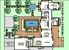 9 House Plans H Style With Swimming Pool Ideas House Plans Pool House Plans U Shaped House Plans
