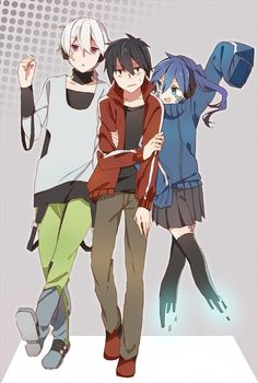 "Kagerou Project - Hahaahha Shintaro.... he looks like ""Don't touch me... pleas :c"""
