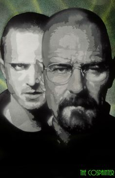 Breaking Bad Spray Paint Art, featuring Walt and Jesse Walter White & Jesse Pinkman Graffiti, Heisenberg Spray Painting, Bryan Cranston, Aaron Paul, Comic Con