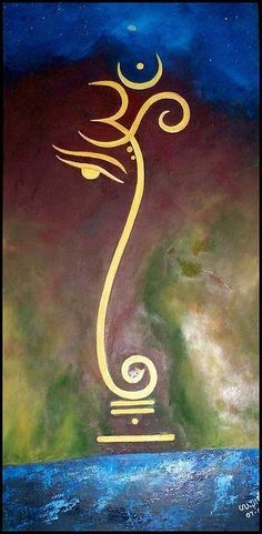 Ohm Ganesha Canvas Print featuring the painting Universe by Usha Rai Maori Tattoo Frau, Ganesh Tattoo, Ohm Tattoo, Lotus Tattoo, Tattoo Ink, Sleeve Tattoos, Ganesha Painting, Ganesha Art, Om Ganesh