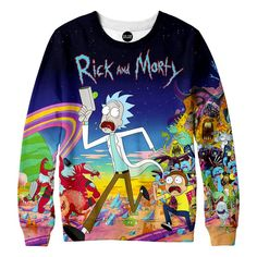 Take off running with Rick and Morty in our amazingly cozy sweatshirt. This piece of vivid rave clothing features our favorite cartoon of 2016. Rick and Morty capture our hearts in their wild adventur