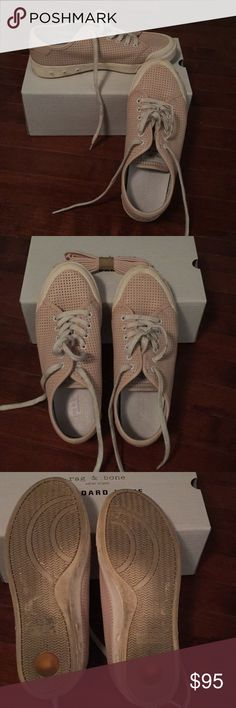 Rag & Bone lace up sneakers size 10 Rag & Bone Standard Issue Lace Up sneakers ladies size 10 (size 40 EU). Pale pink. Comes with a set of matching pink laces that are unused. Shoes slightly worn. Removable insoles. Inner lining is a thin light grey jersey knit. Outer material is leather-like. (Not canvas). Shoes were worn a few times. White laces are slightly soiled. rag & bone Shoes Sneakers