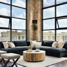 Primavera wood is hand-shaped into a simple cylindrical silhouette and then placed over an oxidized iron base to create this Hudson Round Coffee Table. New York Penthouse, Modern House Design, Modern Interior Design, Interior Ideas, Interior Paint, Interior Office, Style At Home, Boho Home, Décor Boho