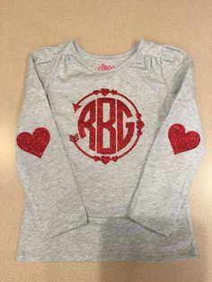 Valentine monogram shirt heart arrow elbow vinyl to heat transfer girl