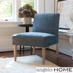 Extra seating!!!    @Overstock - This beautiful angelo:HOME Bradstreet armless chair was designed by Angelo Surmelis. The versatile Bradstreet chair is high in style and comfort and covered in a lovely ocean blue twill microfiber.http://www.overstock.com/Home-Garden/angelo-HOME-Bradstreet-Twillo-Bluestone-Upholstered-Armless-Chair/6310638/product.html?CID=214117 $134.99