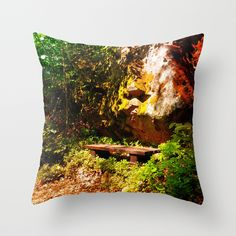 A rock, a bench and some forest Throw Pillow by patrickjobst Bench, Throw Pillows, Rock, Home Decor, Toss Pillows, Decoration Home, Cushions, Room Decor, Skirt