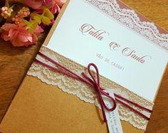 Convite de casamento Rústico Rendado