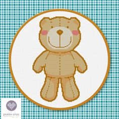 FREE Teddy Bear Hama Perler Bead Pattern or Cross Stitch Chart