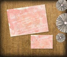 Watercolor Wedding Invitation and RSVP Stationary DIY Set (printable). $30.00, via Etsy.