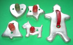 Vintage Aluminum Metal Cookie Cutters Wooden Handles Scottie Dog Heart Bell Star | eBay