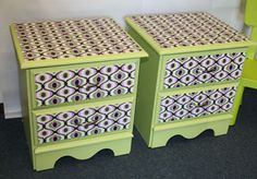 I don't like the colors or patterns used here, but I definitely want to start experimenting with fabrics + Mod Podge to update old pieces of furniture.