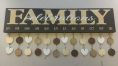 "Personalized Family Birthday Board ~ $45 What an awesome way to keep track of family birthdays and anniversaries?! The sign itself is a 6""x24"" wood board with two hangers on the back for easy hanging on your wall. Each sign comes with your choice of 40 heart, square or circle tokens (also the option to combine shapes for a variety look!) to list birthdays or anniversaries for each month. Board and tokens are painted, and dates and names can either be blank or added for you. www.signchik.com"
