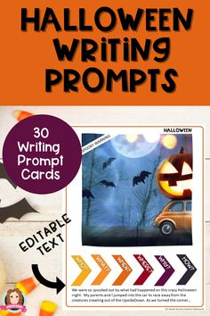 Halloween Writing Prompts are editable for you to customize and modify your lessons for all students. The 30 Halloween writing prompts are the perfect halloween writing activity for students over the Halloween week. Writing prompts are the perfect way to support reluctant writers in your 3rd Grade, 4th Grade, 5th Grade classroom or even middle school classroom. #halloweenwritingprompts #sarahannescreativeclassroom #3rdgradewritingprompts #4thgradewritingprompts #5thgradewritingprompts