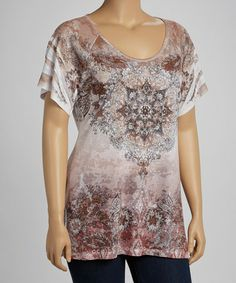 Take a look at this Brown Arabesque Sublimation Burnout Short-Sleeve Top - Plus by Urban X on #zulily today!