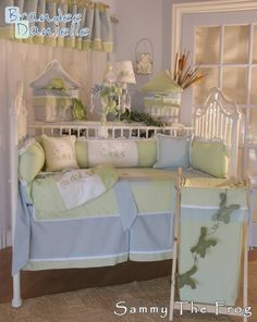 Sammy the Frog Crib Bedding, a favorite among parents who want their Babys Nursery to have a Frog Theme Crib Bedding. A cute little embroidered Froggy in a pond , with dragonflys . Blue and green fabric perfect for any nursery decor. Add some cute froggy wall hangings, pillows in green ,blue and even a embroidered froggy pillow to make your designer nursery complete. Below is a list of all the accessories that is available for Sammy the Frog nursery design.