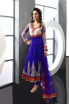 $228.25 Blue Embroidered with Stone Work Anarkali Style Salwar Suit 22931
