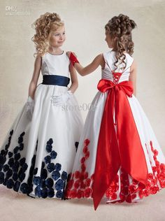 Aliexpress.com: Comprar De color rojo y blanco vestidos ocasiones especiales vestido rosa de las muchachas azul marino manga del casquillo del amor Sleevel 2015 a la venta de demostración del vestido fiable proveedores en Party Dresses Site