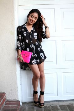 edgy with pop of pink