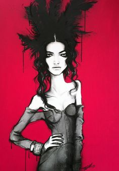 'W is for Wanessa' by Pippa McManus, Acrylic, charcoal, paint pens and spray paint on canvas, 700mm x 1000mm