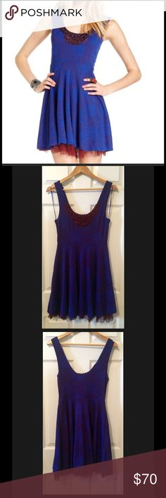 Free People Embellished Rock Princess Dress Free People Fit & Flare midnight blue and deep red/purple sleeveless tulle Dress. Brocade like material with tulle hemline underlay, and bead Embellished neckline. Excellent condition. Worn once. Free People Dresses Mini