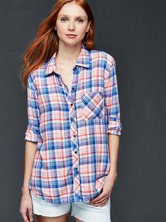Drapey flannel boyfriend shirt