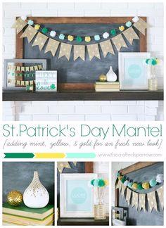 St. Patrick's Day Mantel thecraftedsparrow.com