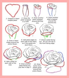 Drawing Doodles Sketches Learn To Draw Roses - step by step tutorial Flower Step By Step, Step By Step Drawing, You Draw, Learn To Draw, Drawing Techniques, Drawing Tips, Drawing Hair, Drawing Faces, Drawing Ideas