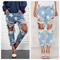 Retro Star Print Distroyed Boyfriend Jeans