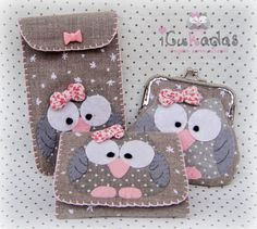 Love the owl change purse Fabric Crafts, Sewing Crafts, Sewing Projects, Owl Crafts, Crafts For Kids, Pochette Portable, Felt Owls, Felt Purse, Coin Purse