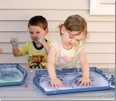 It's finally warm enough to take messy play outside! Corn starch, water, washable paint, and a few toys keeps my kids busy for a long time, and clean-up is easy thanks to the garden hose! What is your favorite outdoor messy play activity?