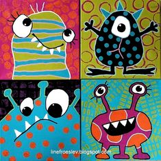 Kinder Self Portraits on Canvas · Art Projects for Kids Canvas Art Projects, Cool Art Projects, Projects For Kids, Primary School Art, Elementary Art, Art School, Elementary Education, Monster Art, Monster High