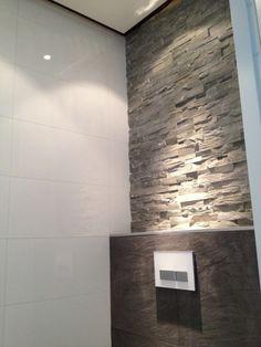 Brick slips above the toilet. Bathroom Design Luxury, Bath Design, Bathroom Interior, Toilet Room, New Toilet, Happy New Home, Modern Toilet, Stone Panels, Downstairs Toilet