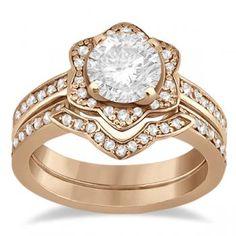 Halo Diamond Star Engagement Ring Wedding Set 14K Rose Gold (0.48ct) - Allurez.com